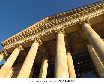 Berlin Reichstag detail of front façade exterior