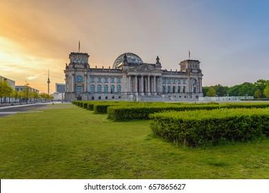Berlin Reichstag (German parliament building) when sunrise, Berlin, Germany