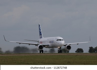 BERLIN - SEP 11: Airbus A320 with new sharklets shown at ILA Berlin Air Show 2012 on September 11, 2012, Berlin, Germany.