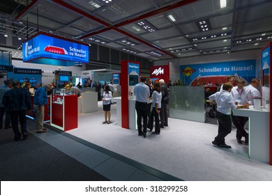 BERLIN - SEPTEMBER 04, 2015: Stand of company AVM, producer of popular routers Fritz! Box. International radio exhibition Berlin (IFA)