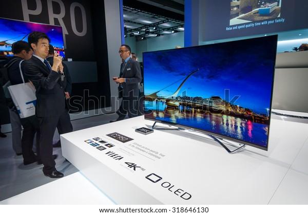 BERLIN - SEPTEMBER 04, 2015: Stand of Panasonic. Panasonic announced new OLED TVs. International radio exhibition Berlin (IFA2015).