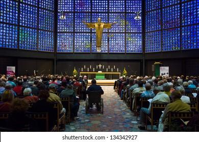 BERLIN - SEPTEMBER 08: The Kaiser Wilhelm Memorial Church. Worship, September 08, 2012 Berlin, Germany