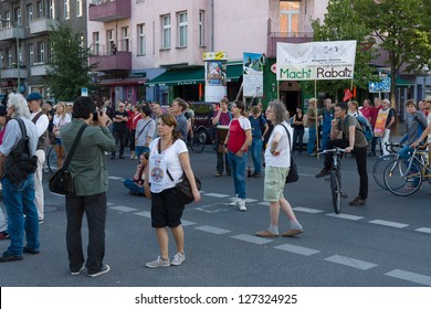 BERLIN - SEPTEMBER 09: A protest demonstration against the increase in rents, in the Berlin district - Kreuzberg, September 09, 2012 in Berlin, Germany