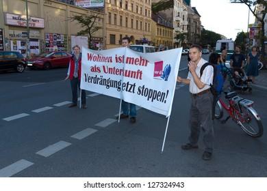BERLIN - SEPTEMBER 09: A protest demonstration against the increase in rents, in the Berlin district - Kreuzberg, September 09, 2012 in Berlin, Germany