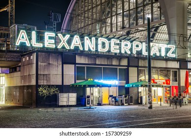 BERLIN - SEPTEMBER 13: Alexanderplatz at night, September 13, 2013 in Berlin, Germany. Berlin and Alexanderplatz subway station at night.