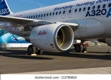 """BERLIN - SEPTEMBER 14: Close-up of jet engine airplane Airbus A320, International Aerospace Exhibition """"ILA Berlin Air Show"""", September 14, 2012 in Berlin, Germany"""