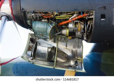 "BERLIN - SEPTEMBER 14: Details of aircraft engine Lockheed Martin C-130J ""Super"" Hercules, International Aerospace Exhibition ""ILA Berlin Air Show"", September 14, 2012 in Berlin, Germany"