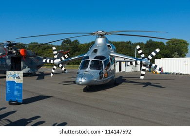 """BERLIN - SEPTEMBER 14: Experimental high-speed compound helicopter Eurocopter X3 (X-Cubed), International Aerospace Exhibition """"ILA Berlin Air Show"""", September 14, 2012 in Berlin, Germany"""