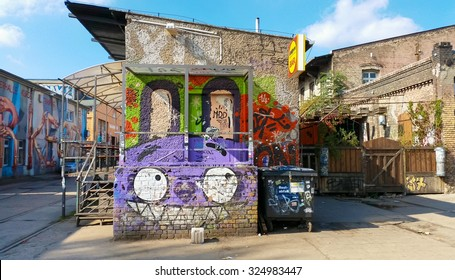 BERLIN - SEPTEMBER 24, 2015: RAW Gelande is a post industrial jumble of derelict buildings along Revaler Strasse. Formerly a train repair station known as the Reichsbahn-Ausbesserungs-Werk (RAW).