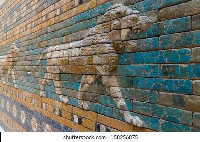 BERLIN - SEPTEMBER 28, 2013: Detailed depiction of the symbolic Babylonian animal - the lion - at the reconstructed Ishtar Gate and Processional Way in the Pergamon Museum on the Berlin museum island.