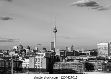 BERLIN - SEPTEMBER 29, 2018: The historical center of Berlin. View from the height of a bird's flight. Black and white.