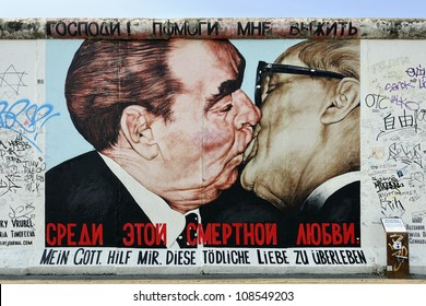 BERLIN - SEPTEMBER 3: Kiss between Brezhnev and Honecker painting on Berlin Wall at East Side Gallery September 3, 2011 in Berlin