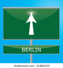 Berlin Sign Illustration - Green road sign with arrow pointing onwards
