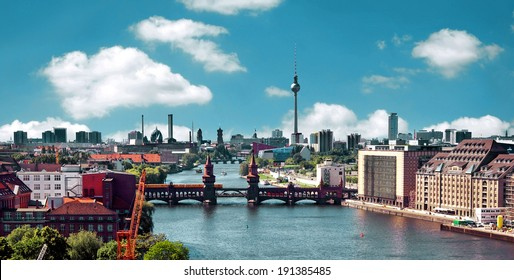 berlin skyline aerial view with river spree and oberbaumbruecke -  oberbaum bridge