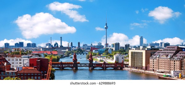 berlin skyline aerial view with river spree and oberbaum bridge