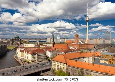 Berlin Skyline City, Capital of Germany in cloudy blue sky