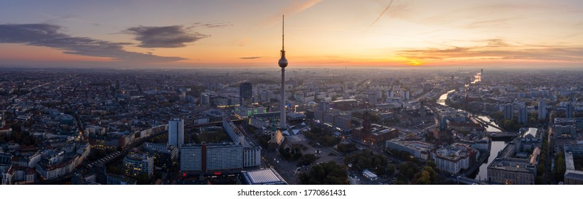 Berlin Skyline City Panorama with blue sky sunset and traffic - famous landmark in Berlin, Germany, Europe. 22 October 2019