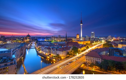 Berlin Skyline City Panorama with blue sky sunset and traffic - famous landmark in Berlin, Germany, Europe