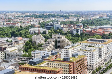 Berlin Skyline City Panorama with blue sky. Berlin, Germany, Europe.