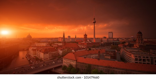 Berlin Skyline City Panorama with Sunset - famous landmark in Berlin, Germany, Europe