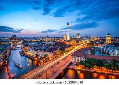 Berlin skyline at dusk with television tower, Germany