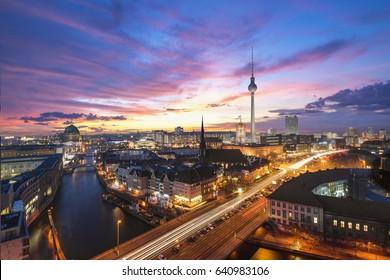 Berlin Skyline near Alexanderplatz. Transition