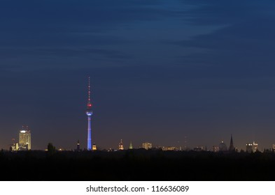 Berlin skyline at night
