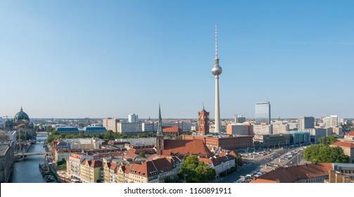 Berlin skyline panorama - aerial over Berlin city center