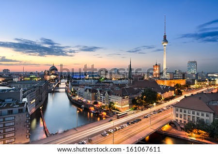 Berlin skyline panorama during sunset, Germany