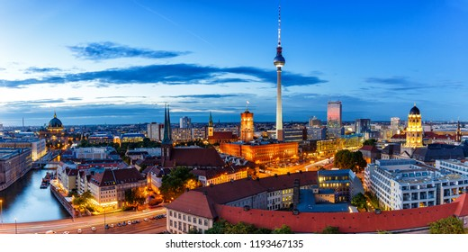 Berlin skyline panoramic view tv tower townhall twilight Germany city blue hour