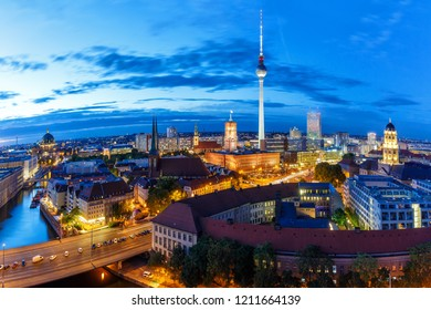 Berlin skyline panoramic view tv tower townhall at night Germany city twilight
