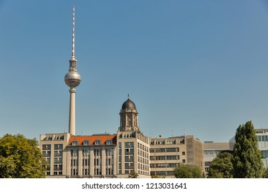 Berlin skyline with television tower and Old Townhall, Germany.
