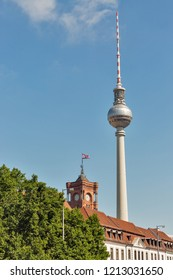 Berlin skyline with television tower and Red Townhall, Germany.