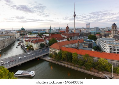 Berlin skyline tv tower downtown townhall evening Germany city twilight