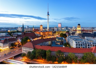 Berlin skyline tv tower downtown townhall at night Germany city twilight