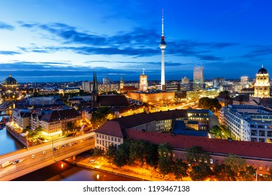 Berlin skyline tv tower townhall at night Germany city twilight