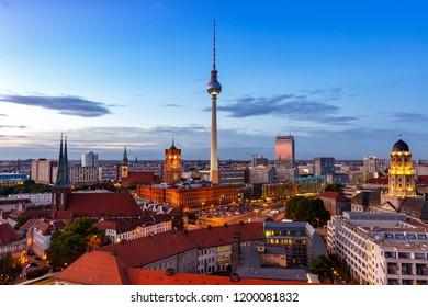 Berlin skyline tv tower townhall twilight Germany city evening
