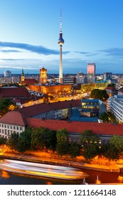Berlin skyline tv tower townhall portrait format twilight Germany city evening