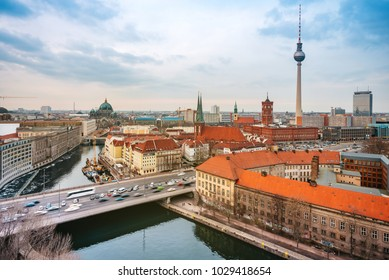 Berlin skyline with TV-Tower and cathedral