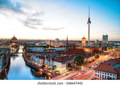 berlin skyline with tv-tower and Berlin Cathedral at blue hour