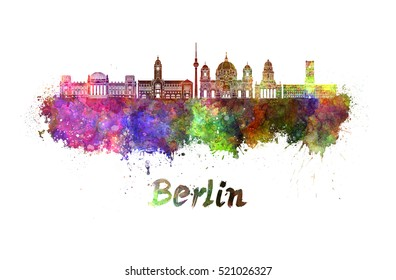 Berlin skyline in watercolor splatters with clipping path