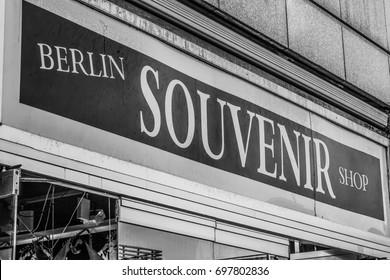 Berlin souvenir shop at Kudamm - BERLIN / GERMANY - SEPTEMBER 2, 2016