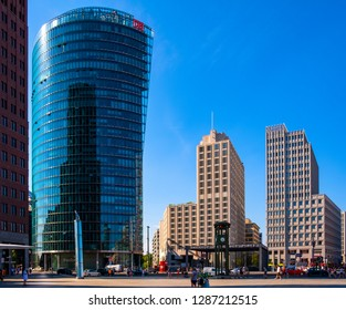Berlin, Berlin state / Germany - 2018/07/31: Panoramic view of the Potsdamer Platz square with modern office buildings and Bahnhof Potsdamer Platz railway station