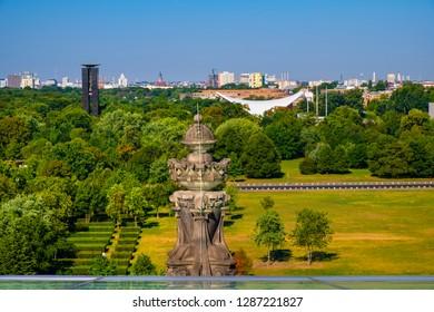 Berlin, Berlin state / Germany - 2018/07/31: Panoramic view of the Groser Tiergarten park with modern House of the World's Cultures - Haus der Kulturen Der Welt - arts center in West Berlin