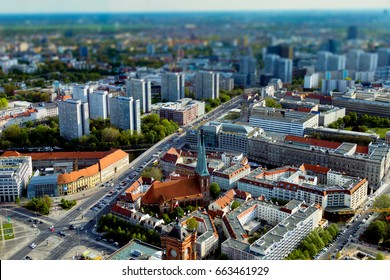 Berlin streets with tilt-shift effect. Top view