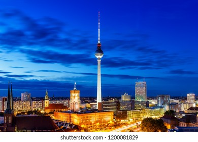 Berlin tv tower townhall blue hour Germany city twilight