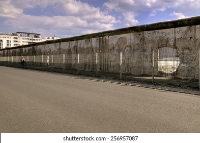 The Berlin Wall (Berliner Mauer) in Germany. Hole in the wall, barrier constructed in 1961, that completely cut off West Berlin from East Berlin, demolished in 1989.
