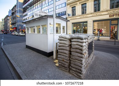 Berlin Wall crossing point between East and West Berlin during the Cold War - Checkpoint Charlie