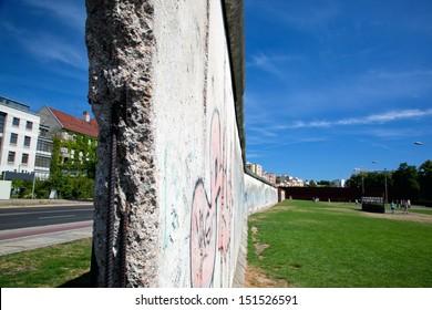 Berlin Wall Memorial with graffiti. The Gedenkstatte Berliner Mauer