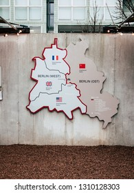 Berlin Wall picture - On wall we can see separation of West Berlin and East Berlin. Provinces of Berlin